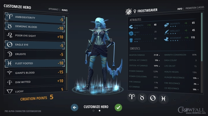 Crowfall character creation in depth look