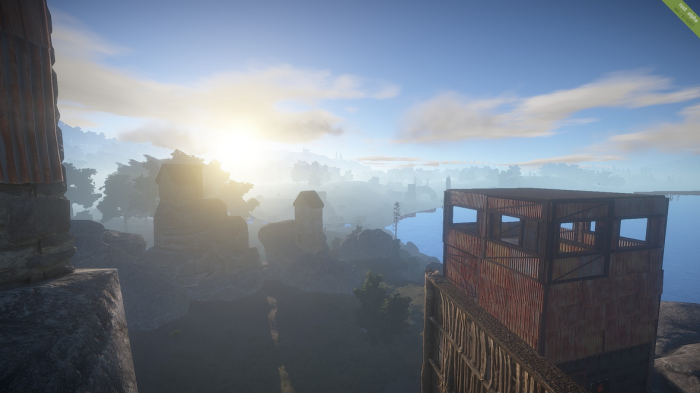 the sun sets on Rust procedural generated map gorgeous